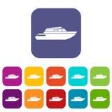 Hyvla powerboatsymbolsuppsättningen vektor illustrationer