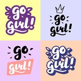 Iść dziewczyny ręki literowania ilustracja Zdjęcie Royalty Free