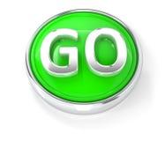 IŚĆ ikona na glansowanym zielonym round guziku royalty ilustracja
