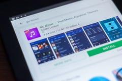 Iść Muzyczna ikona w liście mobilni apps Ryazan Rosja, Marzec - 21, 2018 - Zdjęcie Stock