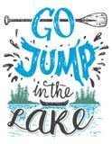 Iść skok w jeziornym domowym wystroju znaku ilustracja wektor