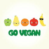 Iść weganin kreskówki owoc Zdjęcia Stock