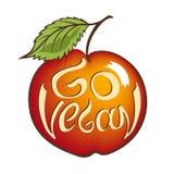 Iść weganinu slogan Ręki literowanie w formie czerwonego jabłka ilustracji