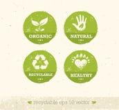 Iść zieleń Przetwarza Zmniejsza Reuse Eco plakata pojęcie Wektorowa Kreatywnie Organicznie ilustracja Na Szorstkim tle royalty ilustracja