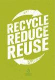 Iść zieleń Przetwarza Zmniejsza Reuse Eco plakata pojęcie Wektorowa Kreatywnie Organicznie ilustracja Na Szorstkim tle ilustracja wektor