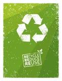 Iść zieleń Przetwarza Zmniejsza Reuse Podtrzymywalny Eco Wektorowy pojęcie na Przetwarzającym Papierowym tle ilustracja wektor