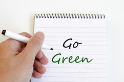Iść zielony pojęcie na notatniku zdjęcia royalty free