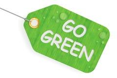 Iść zielony pojęcie, zielona etykietka świadczenia 3 d royalty ilustracja