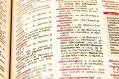 λεξικό τα γερμανικά ισπαν&i Στοκ φωτογραφίες με δικαίωμα ελεύθερης χρήσης