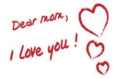 дорогая мама влюбленности I вы Стоковое Фото