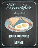 在黑板背景,早晨好,传染媒介, i的早餐菜单 免版税库存图片