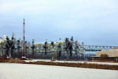 I-70 Bridge Destruction. Sequence of bridge explosion  of first Interstate Bridge and collapse into the Missouri River at St. Charles, Missouri on December 4 Stock Image