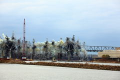 I-70 Bridge Destruction. Sequence of bridge explosion  of first Interstate Bridge and collapse into the Missouri River at St. Charles, Missouri on December 4 Stock Images
