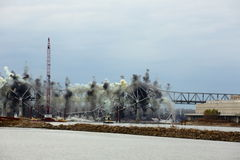 I-70 Bridge Destruction. Sequence of bridge explosion  of first Interstate Bridge and collapse into the Missouri River at St. Charles, Missouri on December 4 Royalty Free Stock Photography