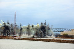 I-70 Bridge Destruction. Sequence of bridge explosion  of first Interstate Bridge and collapse into the Missouri River at St. Charles, Missouri on December 4 Royalty Free Stock Photos