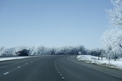 I-80 Highway Nebraska. January. Trees Covered by Snow Stock Images