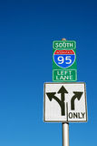I-95 sign. Directional sign to I-95 South in downtown Philadelphia Royalty Free Stock Images