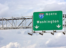 I-95 Washington DC. A sign marking the Interstate 95 North route to Washington DC Royalty Free Stock Photo