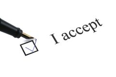 I accept. With a box ticked on white background Stock Image