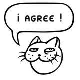 I agree. Cartoon cat head. Speech bubble. Vector illustration. Stock Photography