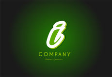 I alphabet letter logo green 3d company vector icon design. I alphabet letter hand written hand writing green white logo 3d vector creative company icon design stock illustration