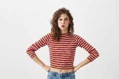 Free I Am Disappointed With Your Behaviour. Portrait Of Funny Expressive Woman In Trendy Cropped Top Sulking, Lifting One Royalty Free Stock Images - 110628979
