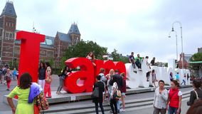 I Amsterdam letters in front of National Museum Amsterdam  City of Amsterdam stock video footage