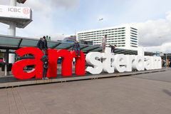 I am Amsterdam sign at the arrivaldeparture entrance of Schiphol international airport Royalty Free Stock Photo