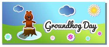 I andra hand Februari som hälsar designen för illustration för ferie för tecknad film för färg för Groundhog dag för banret, räkn vektor illustrationer