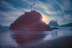 I andra hand lång exponering för strand Royaltyfria Foton