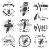 I andra hand shoppar uppsättningen av tappningbarberaren emblem vektor illustrationer