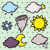 I andra hand uppsättning av vädersymboler. Royaltyfri Fotografi
