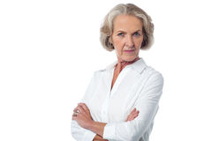 I am angry on you. Serious mature woman posing over white Royalty Free Stock Photos