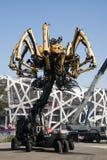 I Asien parkerar Kina, Peking som är olympisk, spindeln, det franska mekaniskt ståtar Arkivfoto