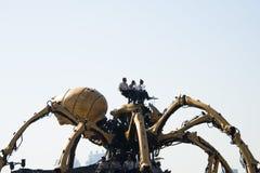 I Asien parkerar Kina, Peking som är olympisk, spindeln, det franska mekaniskt ståtar Royaltyfri Foto