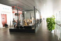 I Asien Peking, Kina, modern arkitektur, huvudmuseet, den inomhus mässhallen Fotografering för Bildbyråer