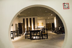 I Asien Peking, Kina, modern arkitektur, huvudmuseet, den inomhus mässhallen Arkivbild