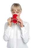 I so badly needed that coffee Stock Photo