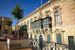 I balconi tradizionali a Valletta Fotografie Stock Libere da Diritti