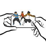 I bambini ballano sul cellulare, progettazione di App di concetto, royalty illustrazione gratis