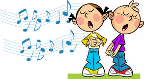 I bambini cantano Fotografia Stock