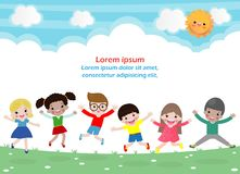 I bambini che saltano sul parco, bambini saltano con la gioia, bambino felice che gioca sul campo da giuoco, modello isolato del  illustrazione vettoriale