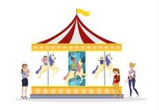 I bambini che si divertono sull'allegro vanno giro illustrazione vettoriale