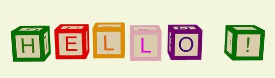 I bambini colorano i cubi con le lettere ciao Vettore illustrazione di stock