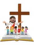 I bambini dei bambini di Gesù del cartone a braccia aperte aprono congiuntamente il vangelo della bibbia royalty illustrazione gratis