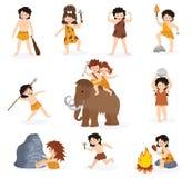 I bambini del cavernicolo vector il carattere primitivo dei bambini ed il bambino preistorico con l'arma lapidata sull'insieme ma illustrazione di stock