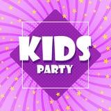 I bambini del partito sono un'insegna variopinta Foglie del fumetto e fondo viola Fondo astratto di gamma di colore Vettore illustrazione vettoriale