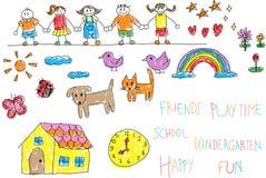 I bambini di asilo scarabocchiano il disegno di colore del pastello e della matita di Fotografia Stock Libera da Diritti