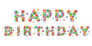 I bambini di buon compleanno di frase del fumetto di vettore hanno colorato le palle illustrazione di stock