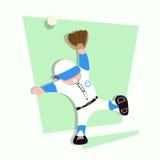 I bambini divertenti giocano a baseball la prova per prendere la palla Fotografia Stock Libera da Diritti